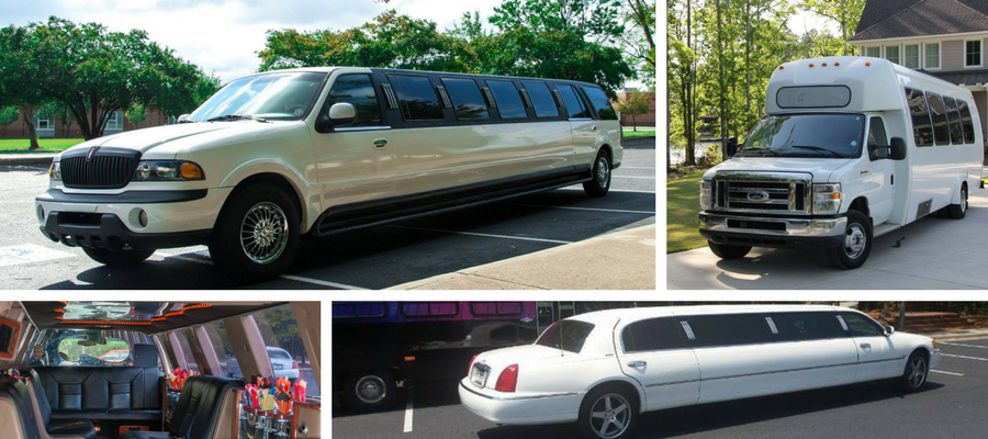 SUV Limo, Stretch Limo, and Mini Bus ready for wedding day transportation with Limo Sales & Service